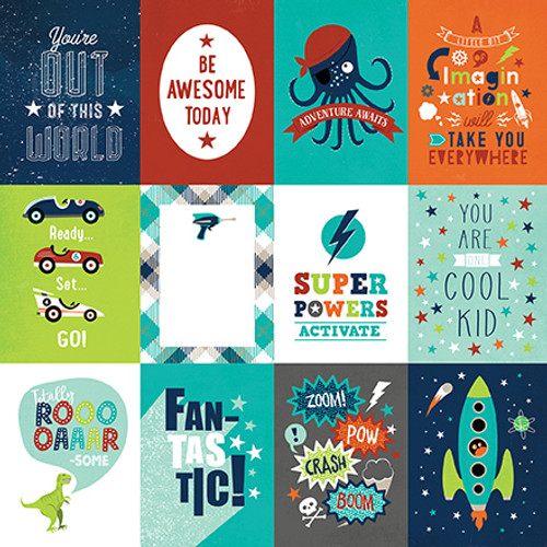 Imagine That Boy Collection 3 x 4 Journaling Cards 12 x 12 Double-Sided Scrapbook Paper by Echo Park Paper