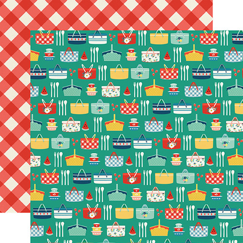 Good Day Sunshine Collection Summer Picnic 12 x 12 Double-Sided Scrapbook Paper by Echo Park Paper