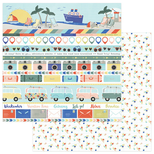 Let's Go! Collection Wish You Were Here 12 x 12 Double-Sided Scrapbook Paper by Photo Play Paper