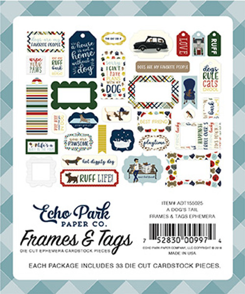 A Dog's Tail Collection 4 x 4 Frames & Tags Scrapbook Cardstock Die Cuts by Echo Park Paper