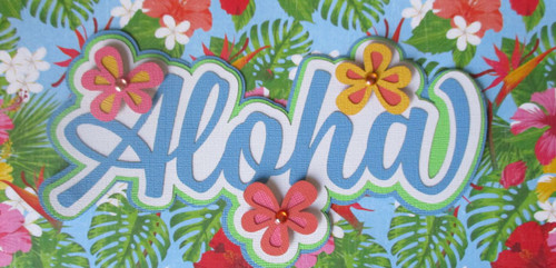 Aloha Title Fully-Assembled 3 x 9 Laser Cut Scrapbook Embellishment by SSC Laser Cuts (original design by Miss Kate Cuttables)