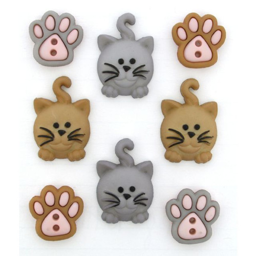 Dress It Up Collection Happy Kitties Scrapbook Button Embellishments by Jesse James Buttons