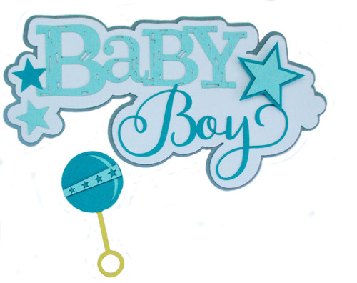 Baby Boy & Rattle 4 x 7 Scrapbook Die Cut Title by SSC Laser Designs (original design by Miss Kate Cuttables)
