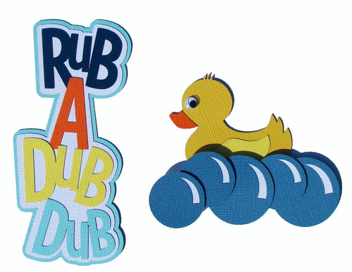 Rub A Dub Dub Title 2 x 5 & Duck 3 x 4 Fully-Assembled Laser Cut Scrapbook Embellishment by SSC Laser Designs (original design by Miss Kate Cuttables)