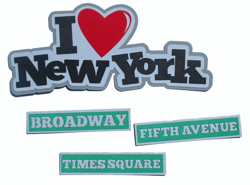 I Love New York 4-Piece Set Fully-Assembled 3 x 8 Laser Cut Scrapbook Embellishment by SSC Laser Designs (original design by Miss Kate Cuttables)