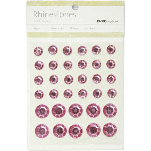 Light Pink Self-Adhesive Mixed Round Rhinestones by Kaisercraft - Pkg. of 34