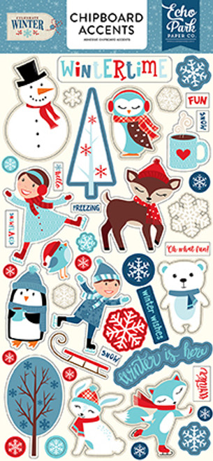 Celebrate Winter Collection 6 x 12 Chipboard Accents by Echo Park Paper