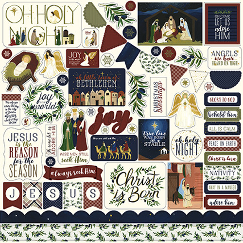 Oh Holy Night Collection 12 x 12 Scrapbook Element Sticker Sheet by Echo Park Paper