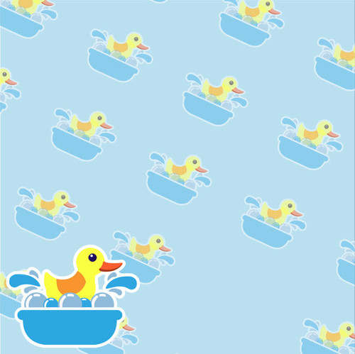 Rubber Ducky Collection Ducks In A Row 12 x 12 Scrapbook Paper by SSC Designs