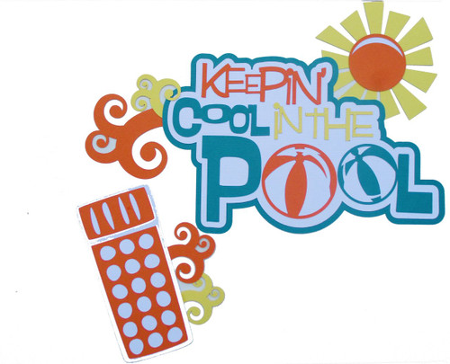 Keepin' Cool In The Pool 2-Piece Set Fully-Assembled 6 x 10 Laser Cut Scrapbook Embellishment by SSC Laser Designs