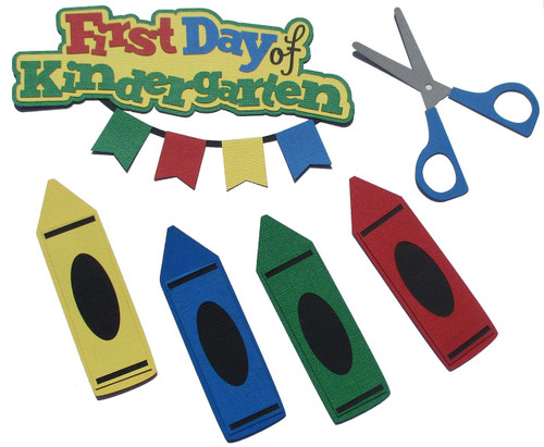 First Day of Kindergarten 2.5 x 6 Title, Crayons, Scissors 6-Piece Set Fully-Assembled Laser Cut Scrapbook Embellishment by SSC Laser Designs (original design by Miss Kate Cuttables)