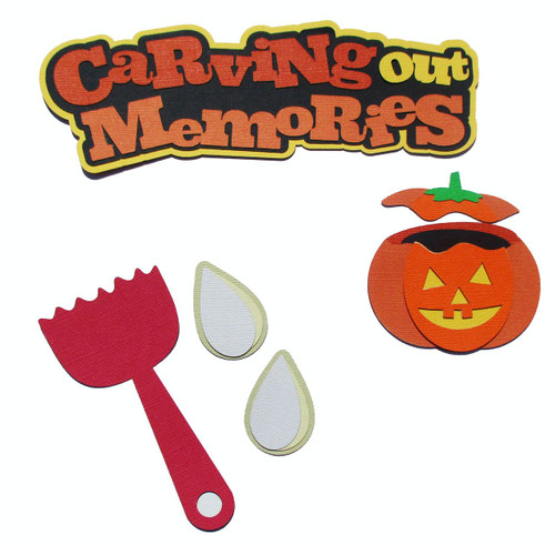 Carving Out Memories 2.5 x 8 Title, Pumpkin, Seeds, Carving Spoon 5-Piece Set Fully-Assembled Laser Cut Scrapbook Embellishment by SSC Laser Designs (original design by Miss Kate Cuttables)