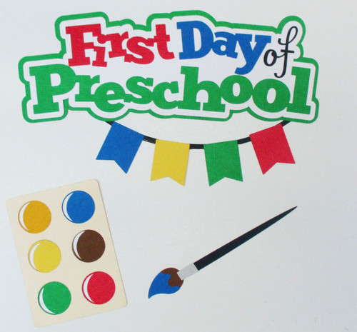 First Day of Preschool 2.5 x 6 Title and Paint Set 3-Piece Set Fully-Assembled Laser Cut Scrapbook Embellishment by SSC Laser Designs (original design by Miss Kate Cuttables)