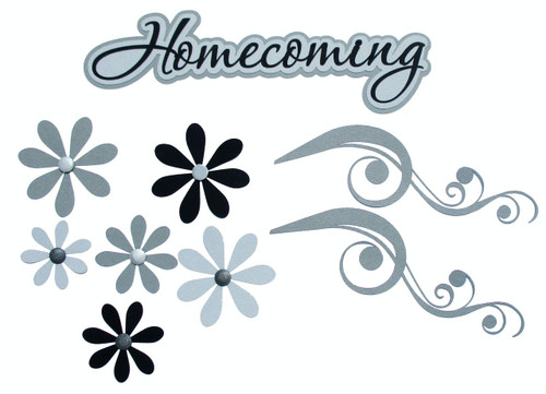 Homecoming  3 x 8 Title, Flourishes & Flowers 9-Piece Set Fully-Assembled Laser Cut Scrapbook Embellishment by SSC Laser Designs (original design by Miss Kate Cuttables)