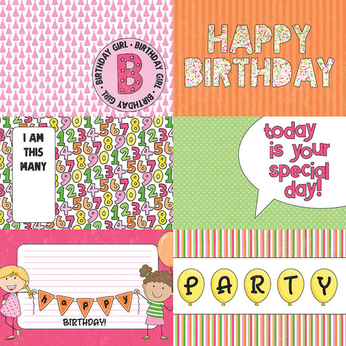 Birthday Girl Wishes Collection Hip Hip Hooray 12 x 12 Double-Sided Scrapbook Paper by Photo Play Paper