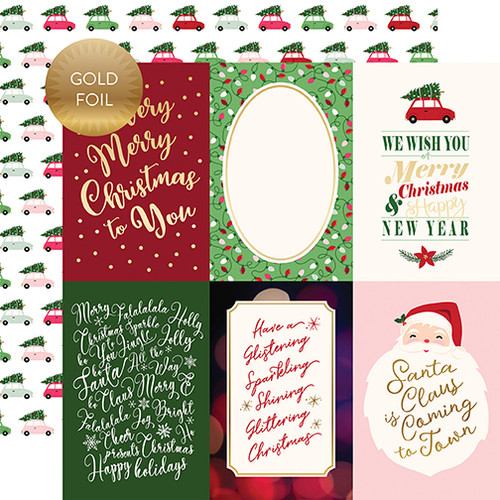 Merry and Bright Collection 4 x 6 Gold Foiled Journal Cards 12 x 12 Double-Sided Scrapbook Paper by Echo Park Paper
