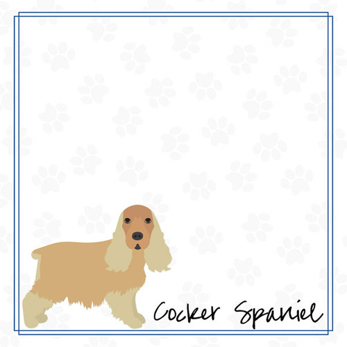 Puppy Love Collection Cocker Spaniel 12 x 12 Double-Sided Scrapbook Paper by Scrapbook Customs
