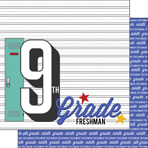 Back To School Collection Ninth Grade 12 x 12 Double-Sided Scrapbook Paper by Scrapbook Customs