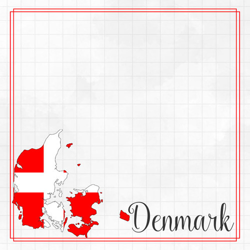 Travel Adventure Collection Denmark Border 12 x 12 Double-Sided Scrapbook Paper by Scrapbook Customs