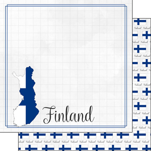 Travel Adventure Collection Finland Border 12 x 12 Double-Sided Scrapbook Paper by Scrapbook Customs