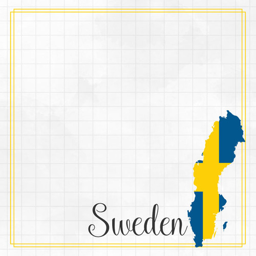 Travel Adventure Collection Sweden Border 12 x 12 Double-Sided Scrapbook Paper by Scrapbook Customs