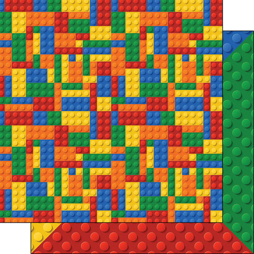 Building Block Collection Multi-Color Blocks 12 x 12 Double-Sided Scrapbook Paper by Scrapbook Customs