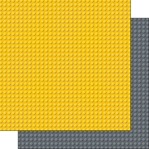 Building Block Collection Yellow & Gray Blocks 12 x 12 Double-Sided Scrapbook Paper by Scrapbook Customs