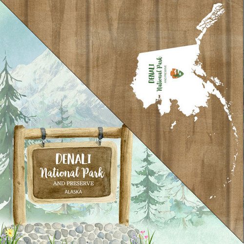 National Park Collection Denali National Park 12 x 12 Double-Sided Scrapbook Paper by Scrapbook Customs