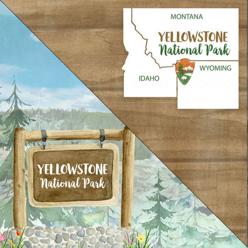 National Park Collection Yellowstone National Park 12 x 12 Double-Sided Scrapbook Paper by Scrapbook Customs