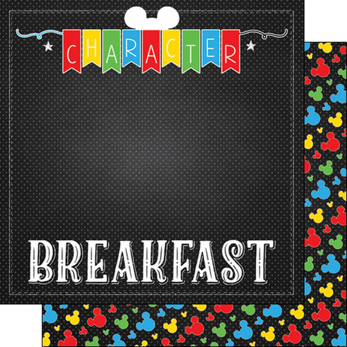 Magical Day of Fun Collection Character Breakfast 12 x 12 Double-Sided Scrapbook Paper by Scrapbook Customs
