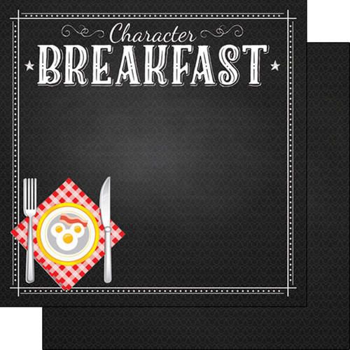 Magical Day of Fun Collection Character Breakfast 2 12 x 12 Double-Sided Scrapbook Paper by Scrapbook Customs