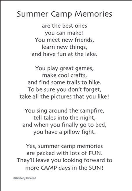 A Poem For A Page Collection Summer Camp Memories 5 x 7 Scrapbook Sticker Sheet by It Takes Two