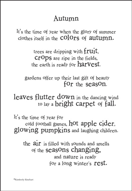 A Poem For A Page Collection Autumn 5 x 7 Scrapbook Sticker Sheet by It Takes Two