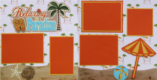 Relaxing in Paradise Premade Embellished Two-Page 12 x 12 Scrapbook Layout by SSC Designs