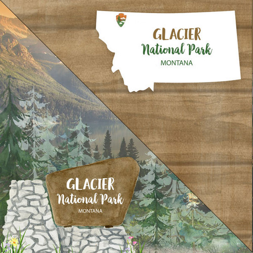 National Park Collection Glacier National Park 12 x 12 Double-Sided Scrapbook Paper by Scrapbook Customs