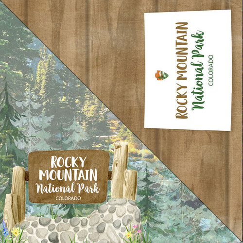 National Park Collection Rocky Mountain National Park 12 x 12 Double-Sided Scrapbook Paper by Scrapbook Customs