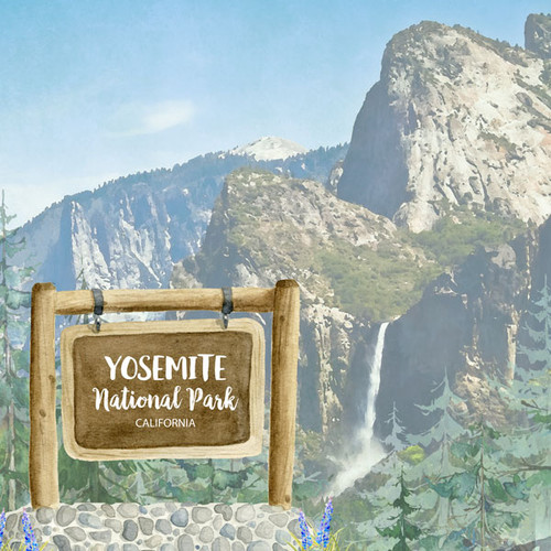 National Park Collection Yosemite National Park 12 x 12 Double-Sided Scrapbook Paper by Scrapbook Customs