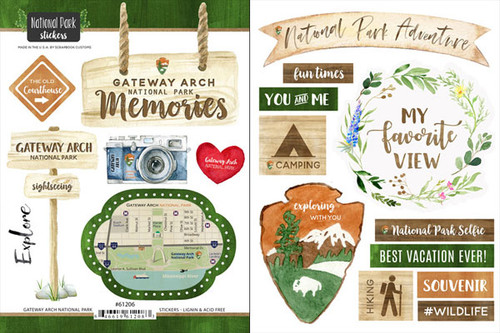 National Park Collection Gateway Arch National Park Scrapbook Double-Sided Sticker Sheet by Scrapbook Customs