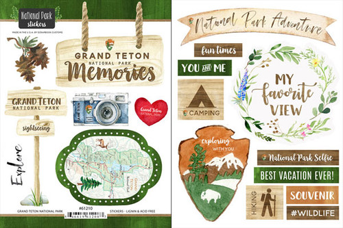 National Park Collection Grand Teton National Park Scrapbook Double-Sided Sticker Sheet by Scrapbook Customs