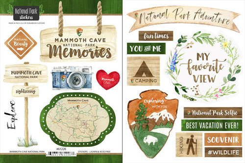 National Park Collection Mammoth Cave National Park Scrapbook Double-Sided Sticker Sheet by Scrapbook Customs