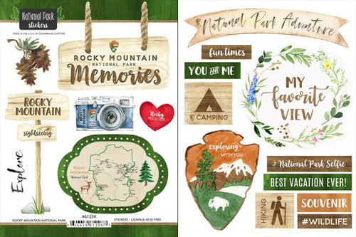National Park Collection Rocky Mountain National Park Scrapbook Double-Sided Sticker Sheet by Scrapbook Customs