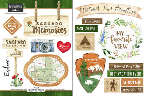 National Park Collection Saguaro National Park Scrapbook Double-Sided Sticker Sheet by Scrapbook Customs
