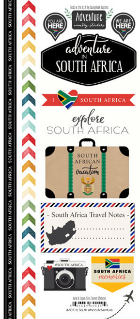 Travel Adventure Collection South Africa Adventure 6 x 12 Scrapbook Sticker Sheet by Scrapbook Customs