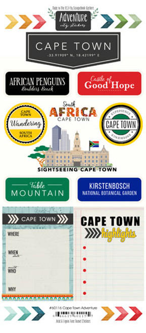 Travel Adventure Collection Cape Town South Africa Adventure 6 x 12 Scrapbook Sticker Sheet by Scrapbook Customs