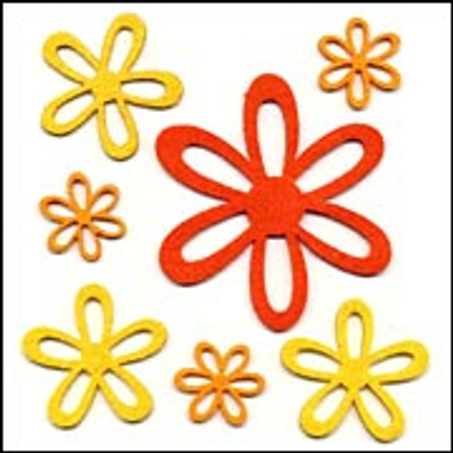 Fiesta Felt Collection Fiesta Felt Caliente Self-Adhesive Felt Flowers - Pkg. of 7