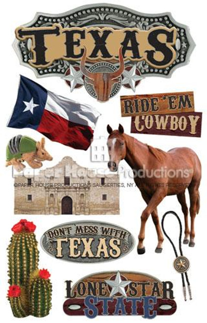 Texas Collection 3D Glitter Scrapbook Embellishment by Paper House Productions