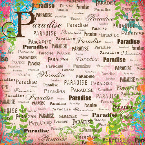Paradise Collection Pink Companion 12 x 12 Scrapbook Paper by Scrapbook Customs