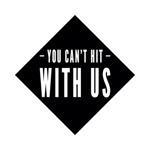 "The Mean Girls knob sticker is a black diamond-shaped vinyl decal with ""You Can't Hit With Us"" printed in the center."