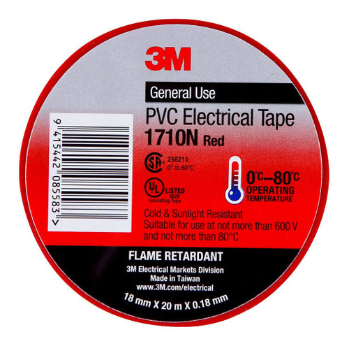 3M Electrical Tape 1710N-RE PVC 18mm X 20m Red