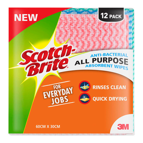 3M Scotch-Brite Cleaning Cloth Anti-Bacterial All Purpose Absorbent Wipe Pkt/12